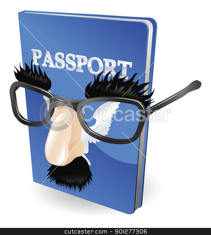 Identity fraud concept stock vector clipart, Identity theft concept. Passport wearing a disguise of fake glasses and nose. by Christos Georghiou