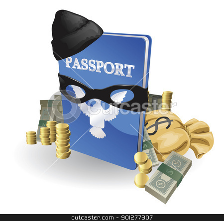 Identity theft concept stock vector clipart, Identity theft concept. Passport with wearing burglar outfit surrounded by stacks of money. by Christos Georghiou