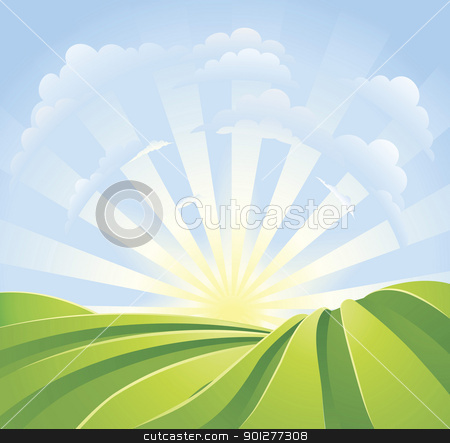 Idyllic green fields with sunshine rays and blue sky stock vector clipart, Illustration of idyllic green fields with sunshine rays and blue sky. A perfect landscape scene. by Christos Georghiou