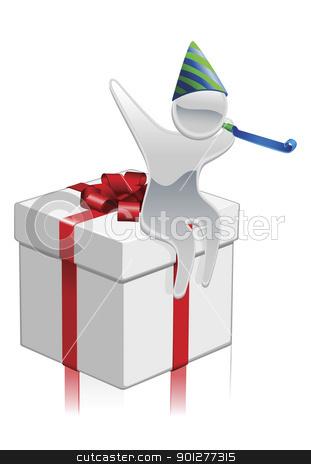 Metallic cartoon mascot gift concept stock vector clipart, Metallic cartoon mascot character party gift concept by Christos Georghiou