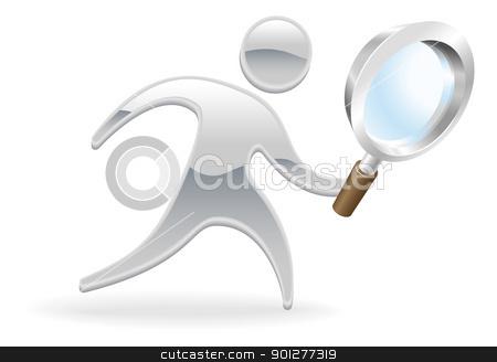 Metallic character magnifying glass concept stock vector clipart, Metallic cartoon mascot character magnifying glass search concept by Christos Georghiou