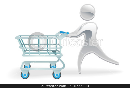 Metallic character shopping cart trolly concept stock vector clipart, Metallic cartoon mascot character shopping cart trolly concept by Christos Georghiou