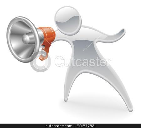 Metallic mascot megaphone concept stock vector clipart, Metallic cartoon mascot character megaphone concept by Christos Georghiou