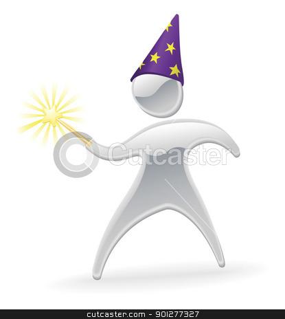 Metallic character wizard and wand concept stock vector clipart, Metallic cartoon mascot character wizard and wand concept by Christos Georghiou
