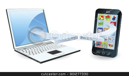 Laptop and smartphone communicating stock vector clipart, Laptop and smartphone communicating via wireless technology concept by Christos Georghiou