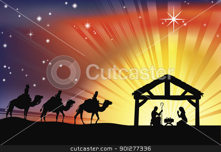 Christian Christmas Nativity Scene stock vector clipart, Illustration of traditional Christian Christmas Nativity scene with the three wise men by Christos Georghiou