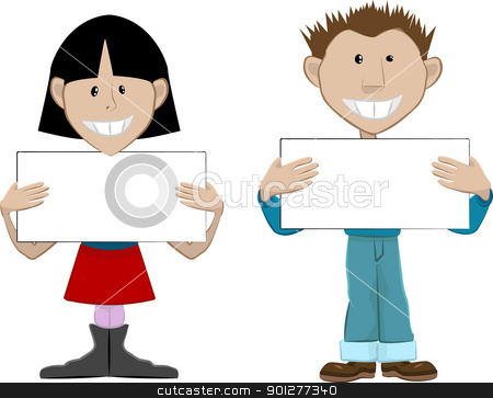 Placard people stock vector clipart, 2 people with blank placards.[Place whatever you like on the boards.  by Christos Georghiou