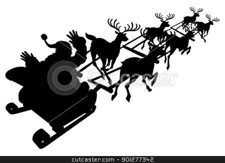 Santa in his Christmas sled or sleigh silhouette stock vector clipart, Santa in his Christmas sled or sleigh in silhouette by Christos Georghiou