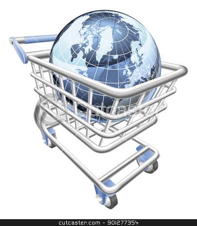 Globe shopping cart concept  stock vector clipart, Conceptual illustration. A shopping cart containing a globe by Christos Georghiou