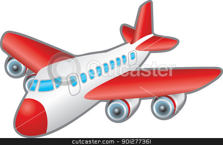Aeroplane Illustration stock vector clipart, Childrens illustration of a jumbo jet aeroplane. No meshes used.  by Christos Georghiou