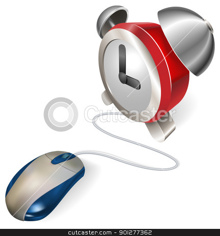 Mouse and  alarm clock concept stock vector clipart, A mouse connected to an alarm clock. Concept for online or electronic scheduler, calendar or reminder. by Christos Georghiou