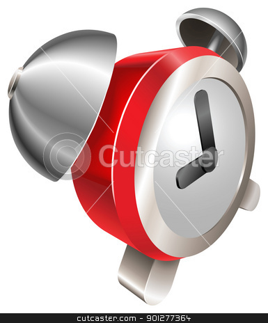 Bight red shiny alarm clock stock vector clipart, A bight red shiny alarm clock vector illustration with dynamic perspective. Can be used as an icon or illustration in its own right. by Christos Georghiou