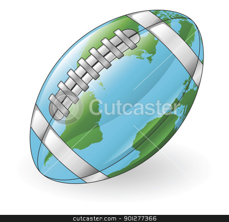 World globe football ball concept stock vector clipart, World globe American football ball concept illustration by Christos Georghiou