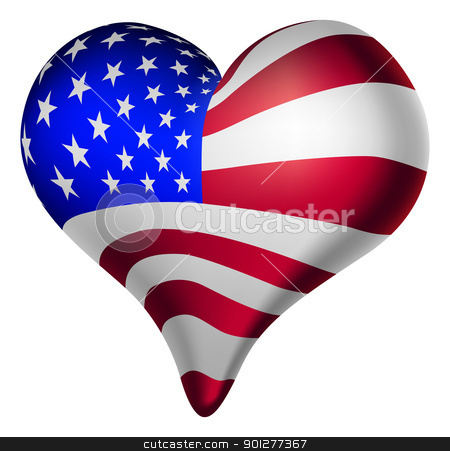 American hearts and minds stock vector clipart, Illustration of a heart, with the american flag. by Christos Georghiou