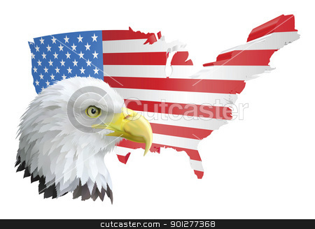 patriotic american eagle and flag stock vector clipart, illustration of the map of the united states of america and the eagle by Christos Georghiou