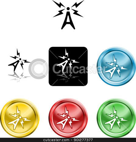 antenna symbol icon stock vector clipart, Several versions of an icon symbol of a stylised atenna aerial   by Christos Georghiou