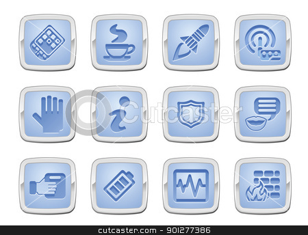 application icon set stock vector clipart, illustration of a set of internet computer application icons by Christos Georghiou