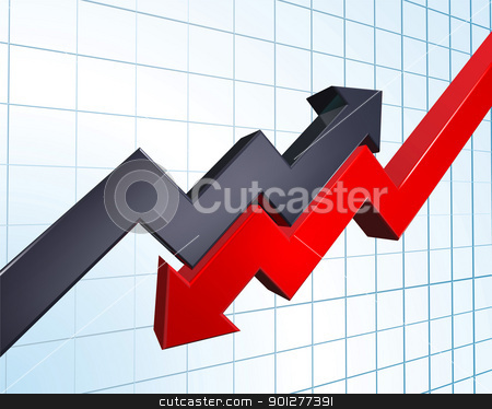 profit and loss illustration stock vector clipart, an illustration of arrows indicating profit and loss on a graph by Christos Georghiou