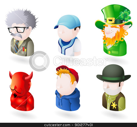 avatar people web icon set stock vector clipart, An avatar people web or internet icon set series. Includes a scientist or teacher, a baseball player, an irish leprechaun, a devil or satan, a boy or teenager in a hooded top, and a sheriff or cowboy by Christos Georghiou