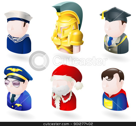 avatar people web icon set stock vector clipart, An avatar people web or internet icon set series. Includes a sailor or navy officer, a spartan or trojan soldier, a teacher or graduate, a pilot, father christmas or santa and a superhero  by Christos Georghiou