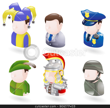 avatar people web icon set stock vector clipart, An avatar people web or internet icon set series. Includes a jester or joker, a businessman, a police officer or security guard, robinhood, a roman soldier and a modern soldier  by Christos Georghiou