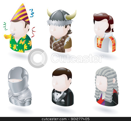 avatar people internet icon set stock vector clipart, An avatar people web or internet icon set series. Includes a party man, Viking, elvis character, knight, james bond character and judge. by Christos Georghiou