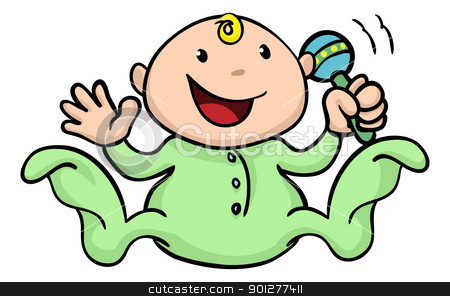 Happy cute baby playing with rattle stock vector clipart, Clipart illustration of a happy cute baby playing with his or her rattle and waving by Christos Georghiou