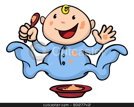 Happy cute weaning baby playing with food stock vector clipart, Clipart illustration of a happy cute baby weaning playing and eating his or her food by Christos Georghiou