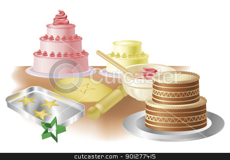 Baking cakes and cookies stock vector clipart, Cakes, cookies and baking paraphernalia illustration by Christos Georghiou
