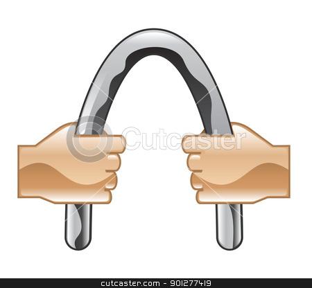 barbending Illustration stock vector clipart, Illustration of hands bending a bar by Christos Georghiou