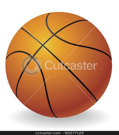 Basketball ball illustration stock vector clipart, An illustration of an orange basketball ball by Christos Georghiou