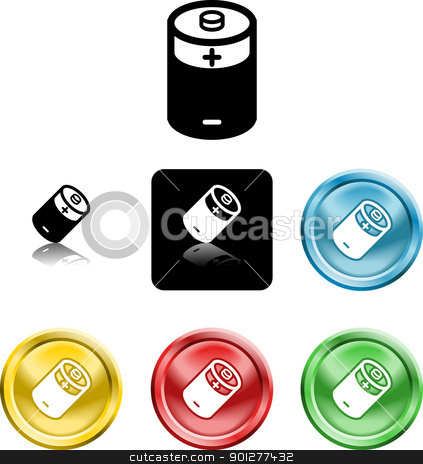 battery icon symbol stock vector clipart, Several versions of an icon symbol of a stylised battery  by Christos Georghiou