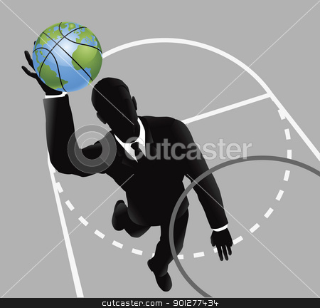 Business man slam dunking basketball stock vector clipart, Business man slam dunking basketball concept by Christos Georghiou