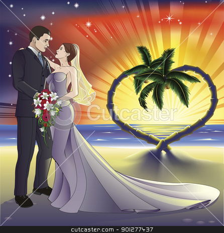 Tropical beach wedding illustration stock vector clipart, Bride and groom newly weds on a perfect tropical beach. Palm trees form a heart shape in the background with a sunset. by Christos Georghiou