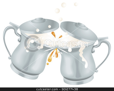 Oktoberfest Ale Beer Mug Tankards Toasting Illustration stock vector clipart, Illustration of overflowing Oktoberfest silver coloured metal ale beer mug tankards with lids toasting by Christos Georghiou