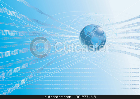 binary globe background stock vector clipart, A dynamic 3d world map background with binary ones and zeros flowing round it.  by Christos Georghiou