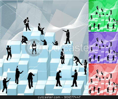 building blocks  busniess concept illustration stock vector clipart, Conceptual piece. Business people building with blocks representing an organisation. No meshes used. Main image on separate layers for easy editing. Also includes several different colour versions by Christos Georghiou