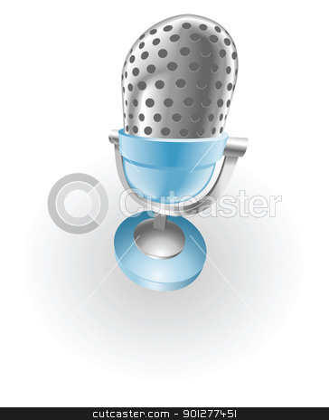 blue microphone illustration stock vector clipart, Illustration of a shiny silver and blue steel metallic old style retro microphone by Christos Georghiou