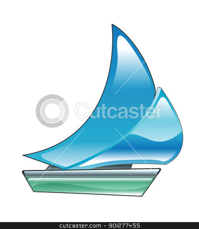 boat stock vector clipart, Illustration of a blue sailboat by Christos Georghiou