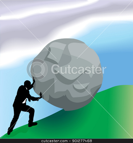 pushing bolder up hill business concept illustration stock vector clipart, Conceptual piece, a very difficult task in business  by Christos Georghiou