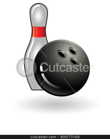 bowling pin and ball stock vector clipart, Illustration of bowling ball and pin by Christos Georghiou
