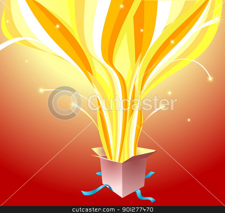 surprise gift stock vector clipart, A gift with light and magic shooting out!  by Christos Georghiou