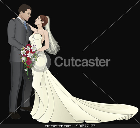 Bride and Groom stock vector clipart, A bride and groom on their wedding day about to kiss by Christos Georghiou