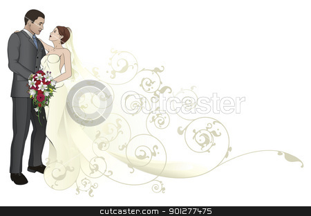 Bride and groom embracing background pattern stock vector clipart, Bride and groom looking into each others eyes kissing abstract background pattern by Christos Georghiou