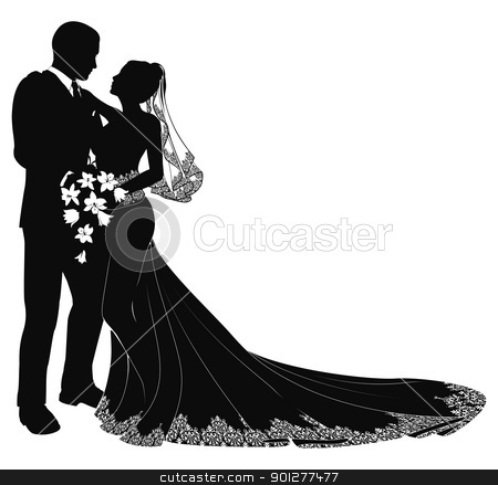 Bride and groom silhouette stock vector clipart, A bride and groom on their wedding day about to kiss in silhouette by Christos Georghiou