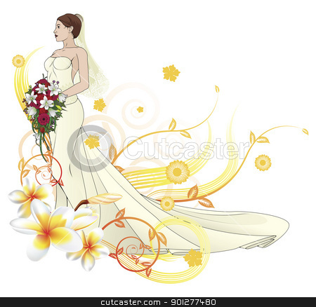 Bride beautiful wedding dress  floral background stock vector clipart, Bride in beautiful wedding dress forming with floral design elements by Christos Georghiou
