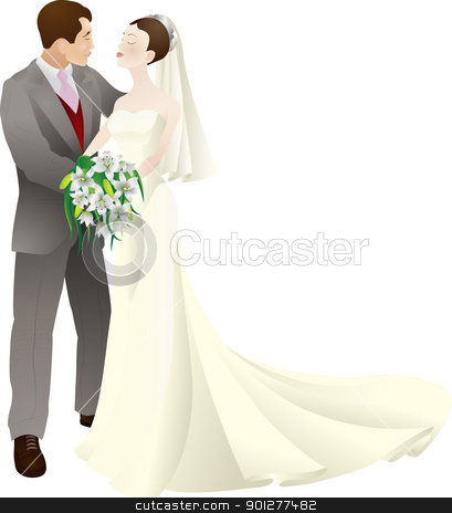 bride and groom in love wedding vector illustration stock vector clipart, A vector illustration of a bride and groom in love, getting married on their wedding day.  by Christos Georghiou