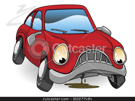 Sad broken down cartoon car stock vector clipart, An illustration of a sad broken down red cartoon car by Christos Georghiou
