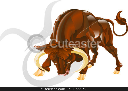 Taurus the bull star sign stock vector clipart, Illustration representing Taurus the bull star or birth sign. Includes the symbol or icon in the background by Christos Georghiou