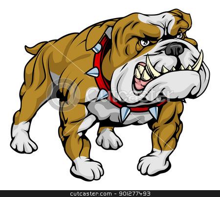 Bulldog clipart illustration stock vector clipart, A cartoon very hard looking bulldog character.  by Christos Georghiou
